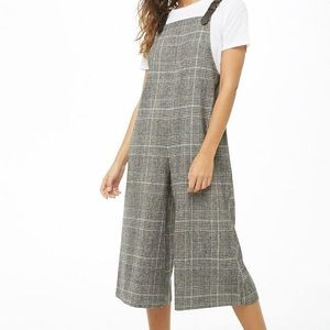 F21 CONTEMPORARY PLAID WIDE LEG JUMPSUIT - W XL US